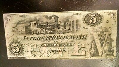 Scarce $5 1862 $5 State Of Maine Obsolete Signed Beautiful Train Vignette Vf+