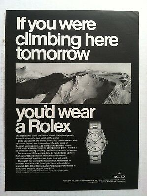 1969 Rolex Print Advertising - If You Were Climbing Here Tomorrow Watch Ad