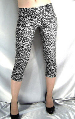 Leopard Print Short Opaque Spandex Leggings Black White Xs S M L Xl Xxl Xxxl