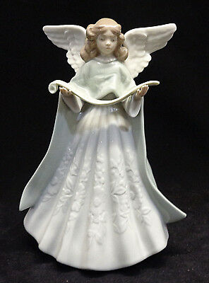 Lladro Angel Tree Topper Figure Blue 1993 Annual 5962 Choir Singing Retired
