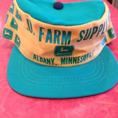 Vintage Rare Old John Deere Cap Lux Farm Albany MN USA JD Sign Tractor Equipment