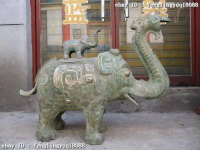 Chinese Old Bronze Copper silver-gilt peace Lucky Elephant Zun statue