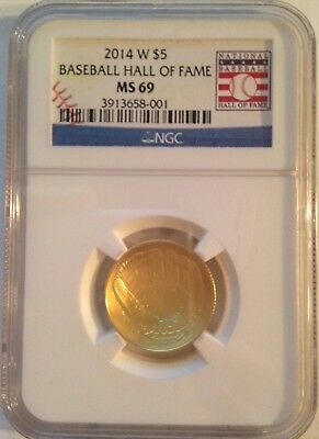 2014-W Baseball Hall of Fame $5 Gold Commemorative Coin NGC MS69