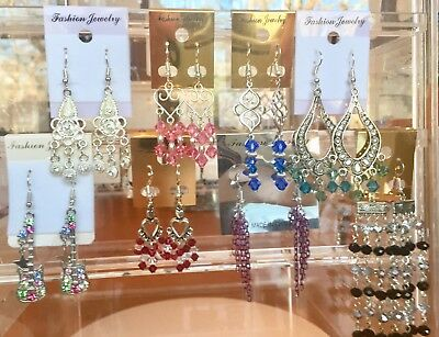 Lot of 8 Pairs of Colorful Crystal Pink Blue Black Red Pierced Earrings A