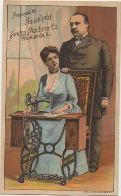 Pres & Mrs Grover Cleveland Household Sewing Machine Adv Trade Card c1880
