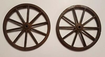2 Antique Cast Iron Buggy Cart Wagon Wheels - 4 Inch - 10 Spoke