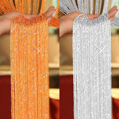 US STRING CURTAIN Crystal Room Door Divider Tassel Fringe Window Panel Decor