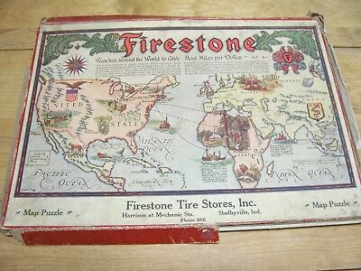 Vintage Firestone Tire Puzzle With Box Shelbyville Ind.harrison & Mechanic Sts.