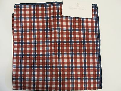 Brunello Cucinelli pocket square handkerchief NEW! RED WHITE & BLUE U.S.A. Plaid