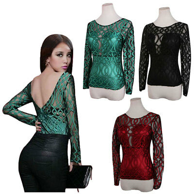 UK Fashion Women Casual Long Sleeve Backless Slim Tops Lace T-shirt Blouse Sexy