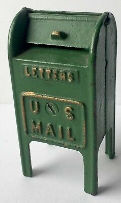 Antique or Vintage Painted Cast Iron U.S. Mail Mailbox Still Bank