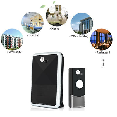 1byone Portable Door Chime Wireless Doorbell 36 Melodies IP44 Waterproof Black