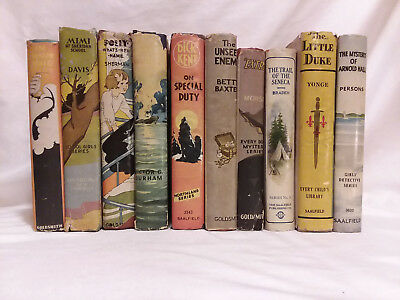 Lot of 10 vintage antique children's books in dust jackets Saalfield Goldsmith