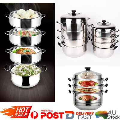 28/32cm  4 Tiers Stainless Steel Steamer Set  Induction Compatible Cookware Pot