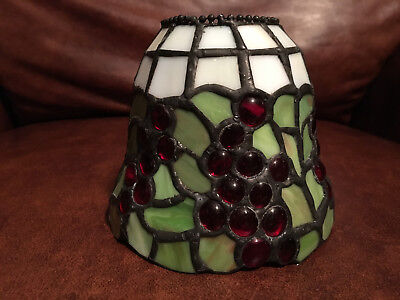 Leaded Slag & Jeweled Stained Glass Round Lamp Shade Tiffany Style Red Grapes