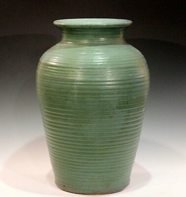 Large Old Matt Green Zanesville Norwalk Old Pot Shop Art Pottery Homespun Vase