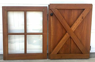 Vintage DUTCH DOOR Solid WALNUT WOOD Cross Buck HEAVY Strap Gate Hinge 79 x 31.5