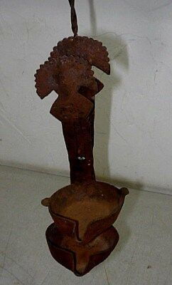Antique Primitive Hand Forged Betty Whale Oil Lamp w/ double trays. Colonial era