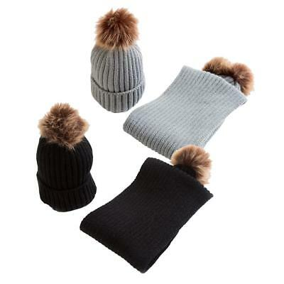 2Pair Boy Girls Winter Warm Pom Bobble Ski Hat Knit Crochet Beanie Cap Scarf