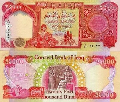 IRAQI DINAR NEW UNCIRCULATED NOTES  1 X 25,000 note