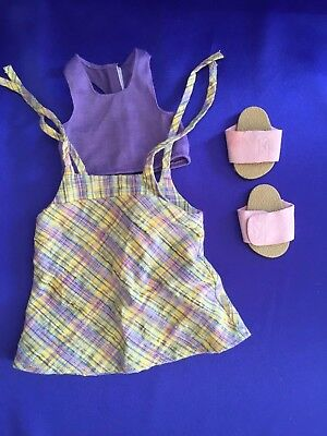 Retired Authentic American Girl Doll Poolside Plaid Outfit Jumper Sandals