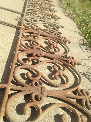 Vintage Cast Iron Garden Edging Border Fence Fleur de Lis Victorian - 3 Pieces