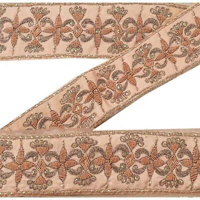 Sanskriti Vintage Sari Border Antique Hand Beaded 1 YD Indian Trim Sewing Pink