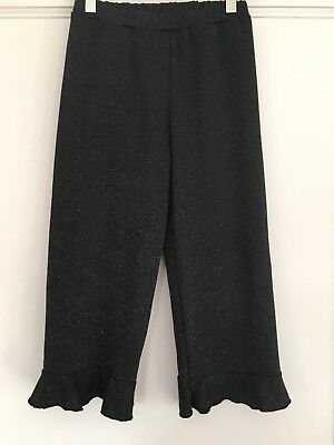 Zara Girls Ruffle Cuff Pants - Elastic Waist - Black Sparkle Knit - Size 8 Years