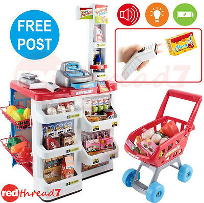 Kids Supermarket Store Food Pretend Play Set Cash Shopping Trolley Toys Checkout