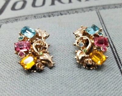 Beautiful Vintage Claudette Rhinestone Clip On Earrings Amazing Attention Detail