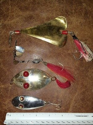 Vintage Lot of 4 Metal Baits old FISHING lures