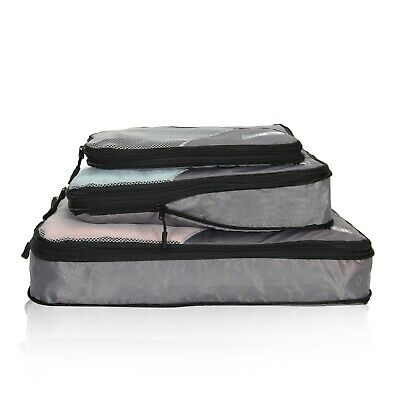 3 Pieces Set Compression Packing Cubes Convenient Travel Packing System Pouch