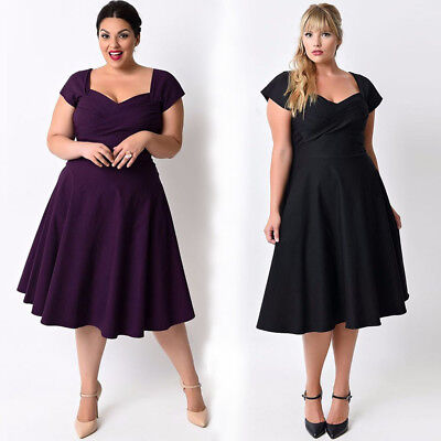 Fashion Women Plus Size Casual Short Sleeve Formal Cocktail Solid Swing Dress