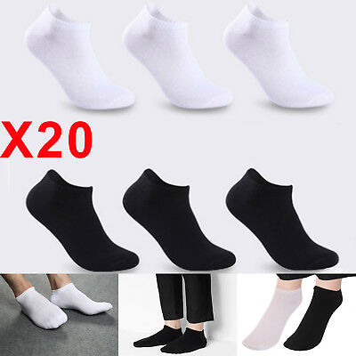 20 Pair of Mens Sock Ankle Quarter Low Sports Gym Socks Cotton Black or White UK