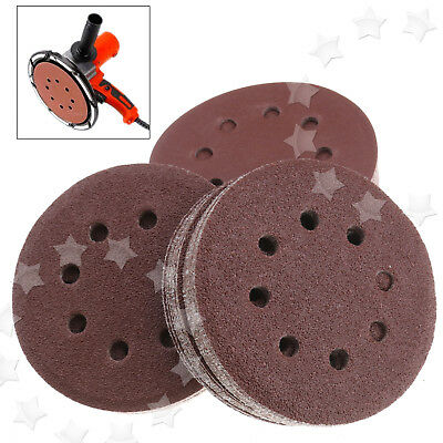 "100pcs 125mm - 5"" Sanding Discs 40 60 80 120 240 Mixed Grit Orbital Sander OPO"