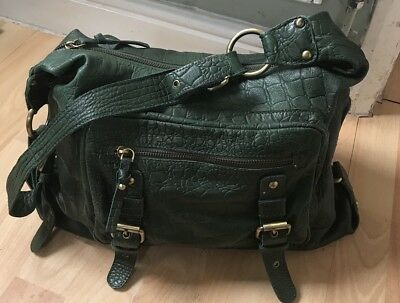 Beautiful Poppy Green leather shoulder bag,See All Photos For Details Please