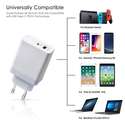45W USB Type-C QC3.0 PD Wall Charger Fast Charging Adapter For Mobile Phone