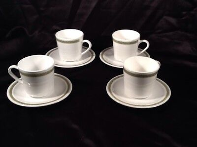 Corning Ware Centura Lynwood Green, SET OF 4 CUP AND SAUCERS PRISTINE COND.