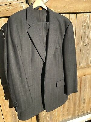 BROOKS BROTHERS Brooksease 2pc, 2 button grey gray pinstriped suit 44 L, 40x30