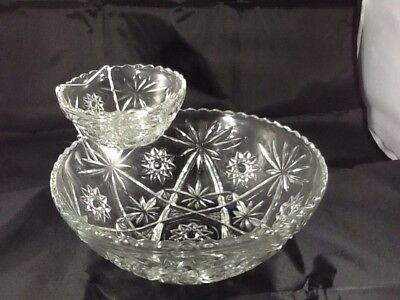 Vintage Chip Dip Set Anchor Hocking Early American Prescut EAPC Star of David