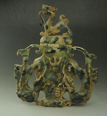 RARE ! Chinese old HE TIAN jade vase hand carved three dragons vase
