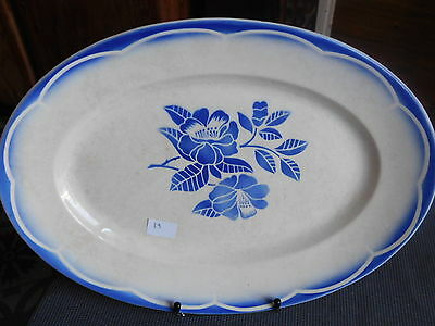 DIGOIN SARREGUEMINES ANTIQUE LARGE DISH EARTHENWARE OVAL SERVICE MARSAC BLUE n°2