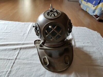 Vintage Solid Barss & Copper Divers Helmet Replica Nautical Navy Figure Display