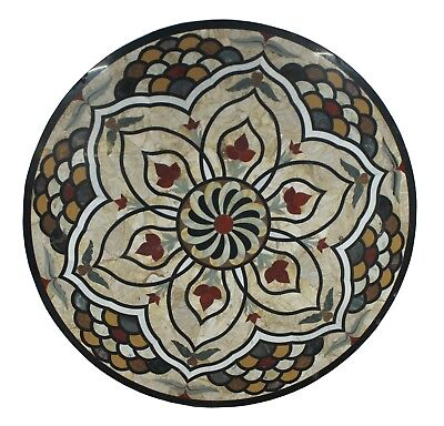 "48"" Indian Multi Stone Black Base Unique Inlay Floral Marble Table Top US6MTT"