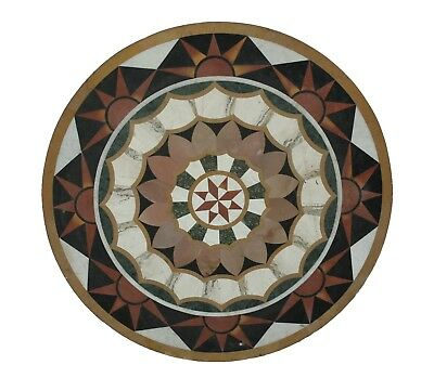 "Indian 36"" Handmade Unique Multi Stone Inlay Floral Marble Table Top US4MTT"