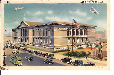 Vintage Postcard Art Institute Chicago 1930s Cars and Air Planes Postmark 1934