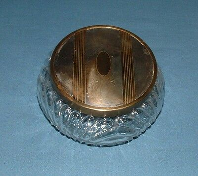 Vintage Pressed Glass Powder Jar With Metal Decorated Lid - Good Condition