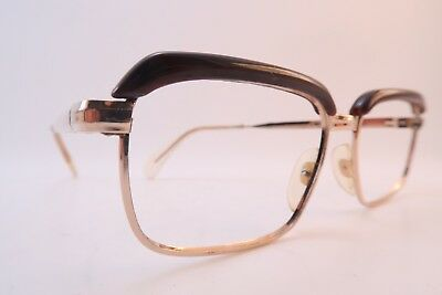 Vintage 60s eyeglasses frames gold filled 20/000 DESIL brown brow made in France