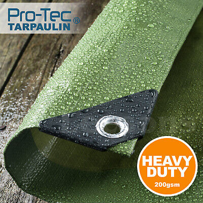 Tarpaulin 200gsm Heavy Duty Green Builders Waterproof Ground Sheet Tarp Cover