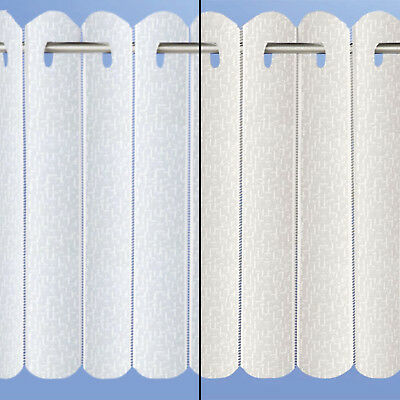 Plain Lace Net Voile Rhodes Vertical Pleated Window Blind Panel White & Cream